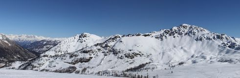 Alps panopama in Italy (Sestriere) wit Royalty Free Stock Photo