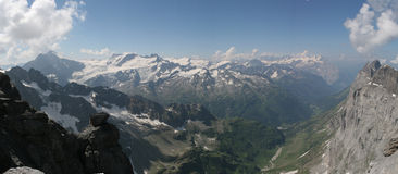 Alps panorama 2. High quality Alps panorama (5 vertical frames Stock Photo