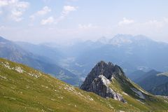 Alps panorama. Panoramic view of Val di Scalve, Bergamo, Italy stock photography