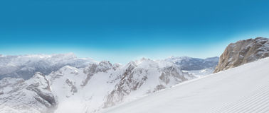 Alps panorama view in winter snow time Royalty Free Stock Photography