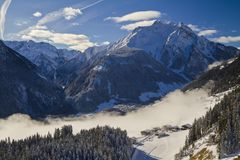 Austrian Alps Panoramic View of the  Zillertal Valley Stock Photo