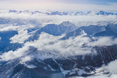 Alps, panoramic view of winter mountains Royalty Free Stock Photo