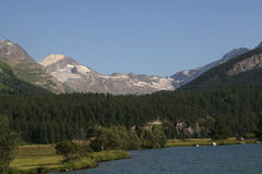 Alps with Receding Glacial Ice Stock Photo