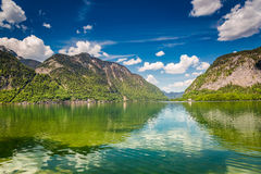 Alps reflecting in the mirror of the lake, Austria, Europe Stock Photography