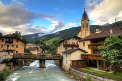 Alps river village Stock Photography