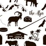 The Alps seamless pattern flat icons. Mountain Matterhorn, Alpine ibex, chalet, edelweiss, alpenhorn. royalty free illustration