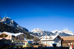 Alps ski resort village  Royalty Free Stock Photos