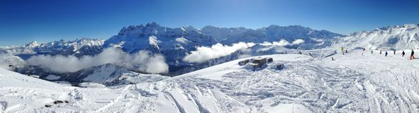 Alps and ski slope. Panoramic view of the Alps and ski slope Stock Photos