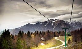 Alps - Slovenia. Slovenian Alps funicular leading to a small hotel Stock Photos