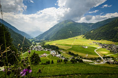 Alps. Summer landscape with fields and mountains-Kals am Grossglokner,Styria,Austria Stock Photo