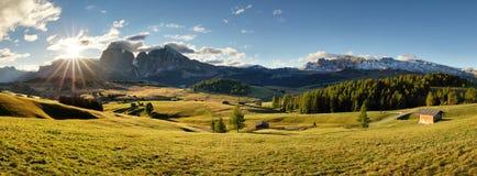Alps sunrise green mountain panorama landscape, Alpe di Siusi Royalty Free Stock Photo