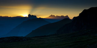 Alps in sunset Royalty Free Stock Photography