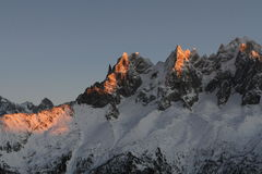 Alps in sunset. Winter sunset in france Alps, Mont Blanc massif stock photo
