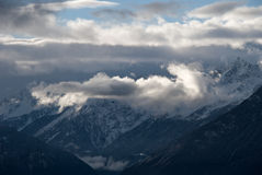 The Alps at sunset. So it is the sunset in the Alps after a snowstorm. Indescribably beautiful Royalty Free Stock Photos