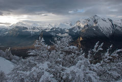The Alps at sunset. So it is the sunset in the Alps after a snowstorm. Indescribably beautiful Royalty Free Stock Image