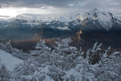 The Alps at sunset. So it is the sunset in the Alps after a snowstorm. Indescribably beautiful Stock Photo