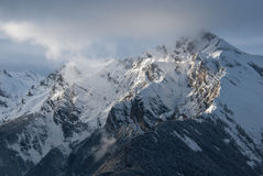 The Alps at sunset. So it is the sunset in the Alps after a snowstorm. Indescribably beautiful Stock Photography