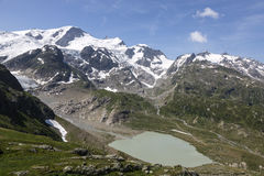 Alps in Switzerland with Glacier lake near Susten Royalty Free Stock Image