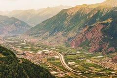 Alps, Switzerland. Alps, Rhone river, Canton of Valais, Switzerland royalty free stock photography