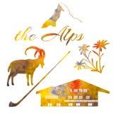 The Alps symbols. Set of watercolor objects. Matterhorn, chalet, edelweiss, alpenhorn. Royalty Free Stock Photos