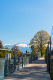 Alps and Thun lake near Spiez Stock Images