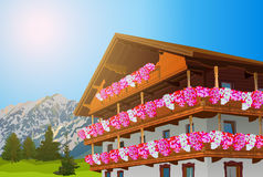 Alps traditional house. With flowers. Summer season. EPS 10 format Stock Images