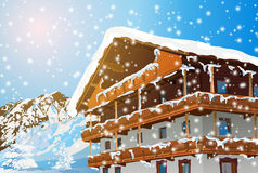 Alps traditional house. Winter season. EPS 10 format Royalty Free Stock Photo