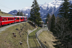 Alps Train and railway station Royalty Free Stock Photos