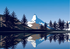 Alps view. With lake and peak Matterhorn Royalty Free Stock Photos