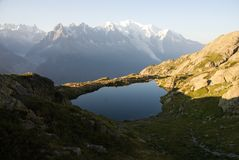 Alps view from the Lacs de Cheserys Stock Image