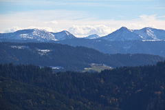 Alps. The view of the snow-capped Alps in the morning stock photo