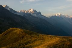 Alps view to the Mont Blanc royalty free stock photo