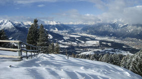 The Alps. View from the top of the mountain on the Alps in Innsbruck, Austria Stock Photos