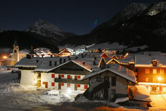 Alps village with u.f.o. in the sky Stock Photos