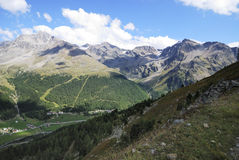 Alps in the Vinschgau. Mountains in the region of mount Ortler in Sulden (South Tyrol, Italy Royalty Free Stock Photo
