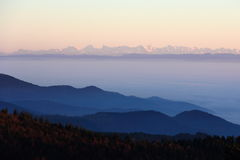 The Alps from the Vosges. Spectacular view of the Alps from the Vosges Royalty Free Stock Images