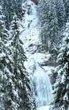 Alps waterfall winter view Stock Images