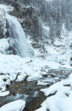 Alps waterfall winter view Royalty Free Stock Images