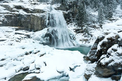 Alps waterfall winter view Royalty Free Stock Photography