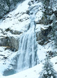 Alps waterfall winter view Royalty Free Stock Photo
