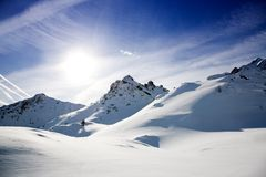 Alps in winter. Beautiful alps landscape in sunny winter day Royalty Free Stock Photography