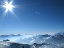 Alps in the winter. View on the swiss Alps Royalty Free Stock Photo
