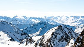 Alps in winter day, Austria, Stubai, Stubaier Gletscher ski resort. Beautiful mountain view