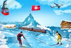 Alps winter mountain welcome card. Alps Matterhorn mountain welcome card with landmarks Stock Photography