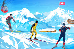 Alps winter mountain welcome card Stock Image