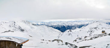Alps Winter Panorama. French Alps Winter Panorama taken after hudge snowfall Royalty Free Stock Photography