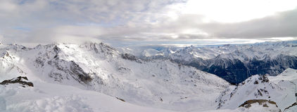 Alps Winter Panorama. French Alps Winter Panorama taken from the peak of the mountain Stock Photos