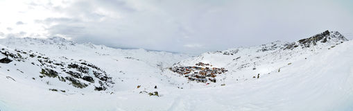 Alps Winter Panorama. French Alps Winter Panorama with Val Thorens village in distance Royalty Free Stock Image