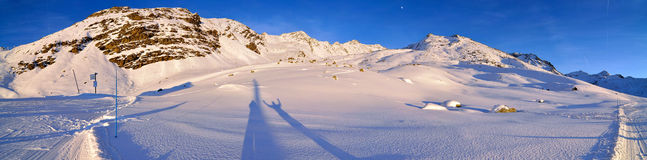 Alps Winter Panorama. French Alps Winter Panorama seconds before sunset Royalty Free Stock Photography