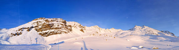Alps Winter Panorama. French Alps Winter Panorama seconds before sunset Royalty Free Stock Images